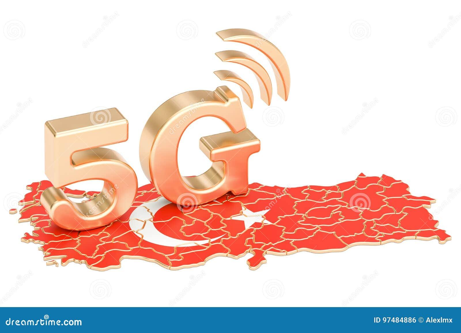 5G nel concetto della Turchia, rappresentazione 3D