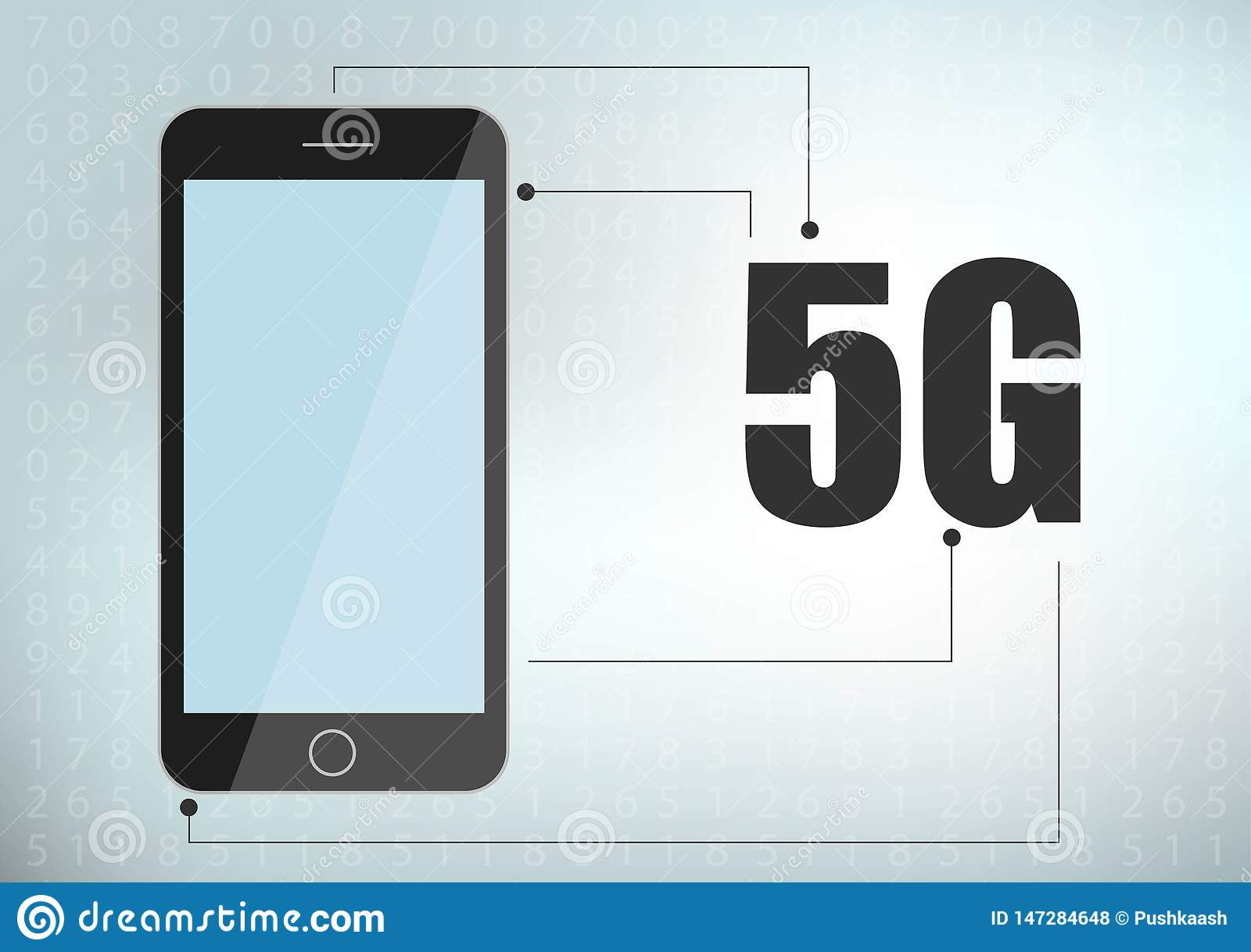 5G network icon and smartphone. 5G new wireless internet wifi connection. Fifth innovative generation of the global high speed