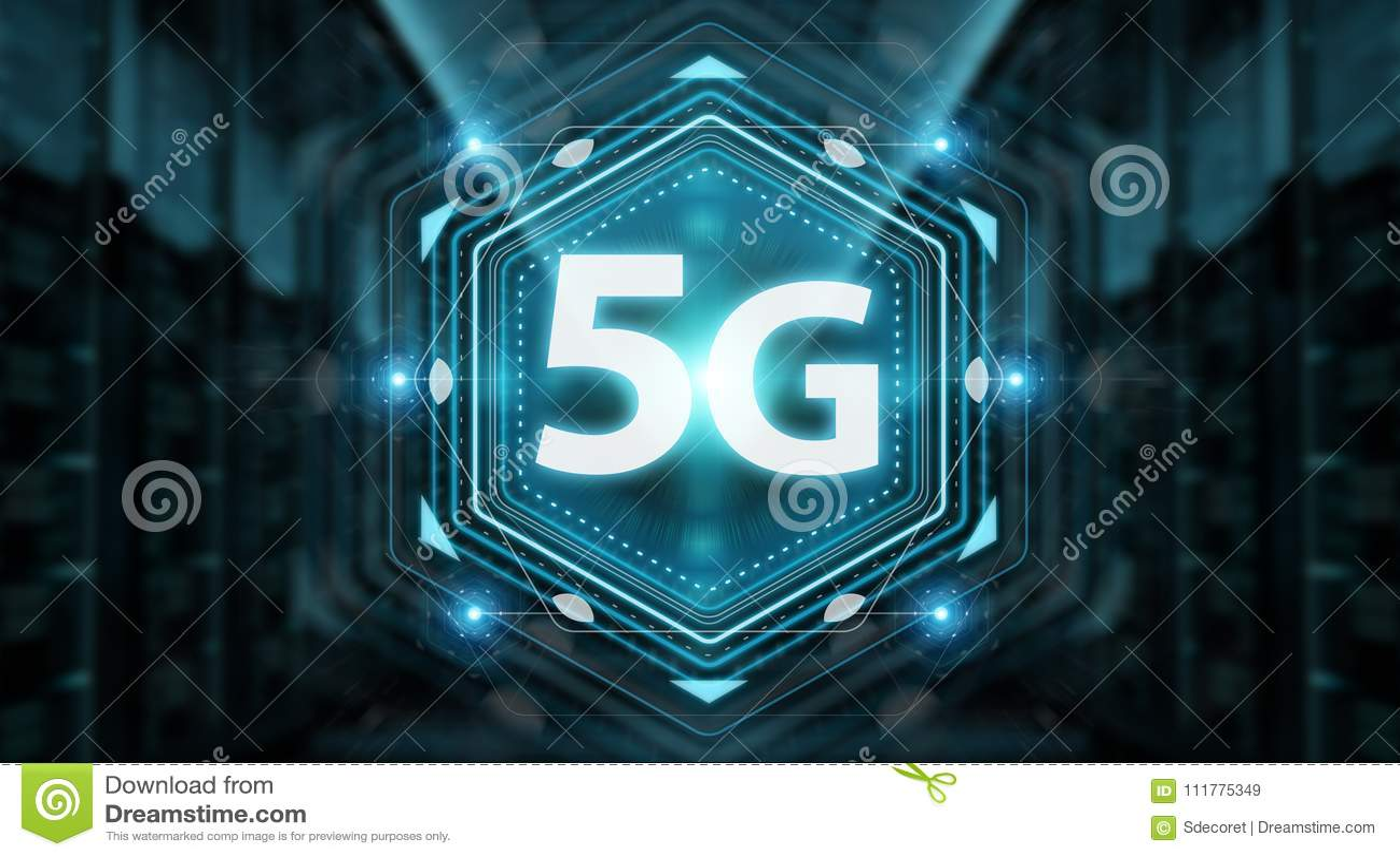 5G network interface 3D rendering
