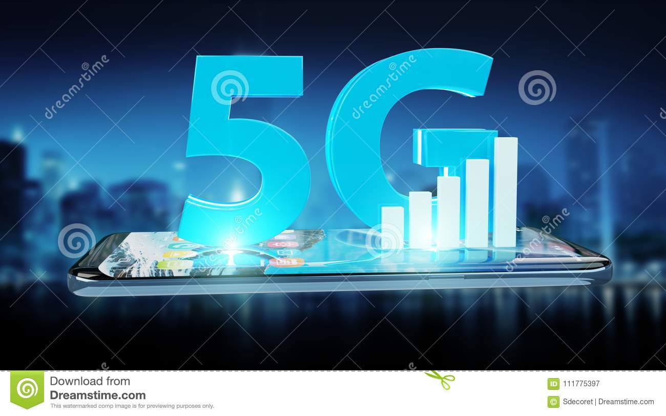 5G network with mobile phone 3D rendering