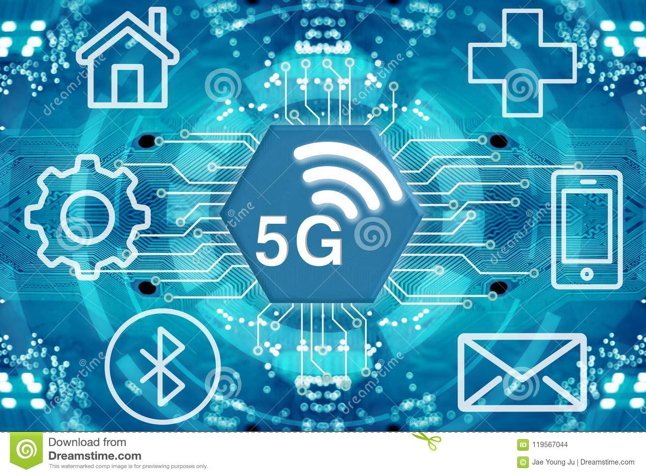 5g Network Wireless Systems And Internet Stock Illustration Communication Circuit Diagram Of Things With Abstract Connected Dots On Background