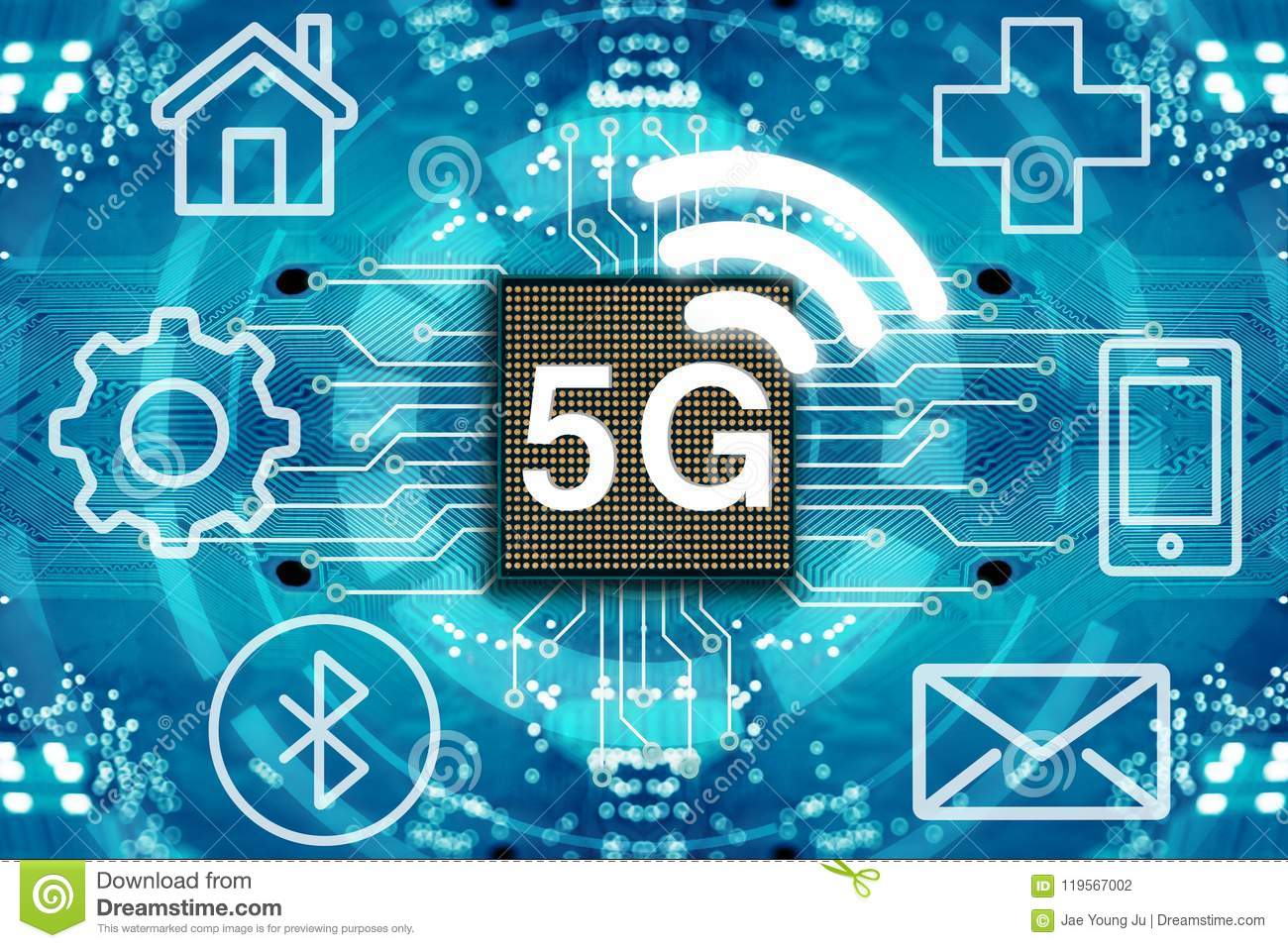 5G Network Wireless Systems And Internet. Stock Illustration ...