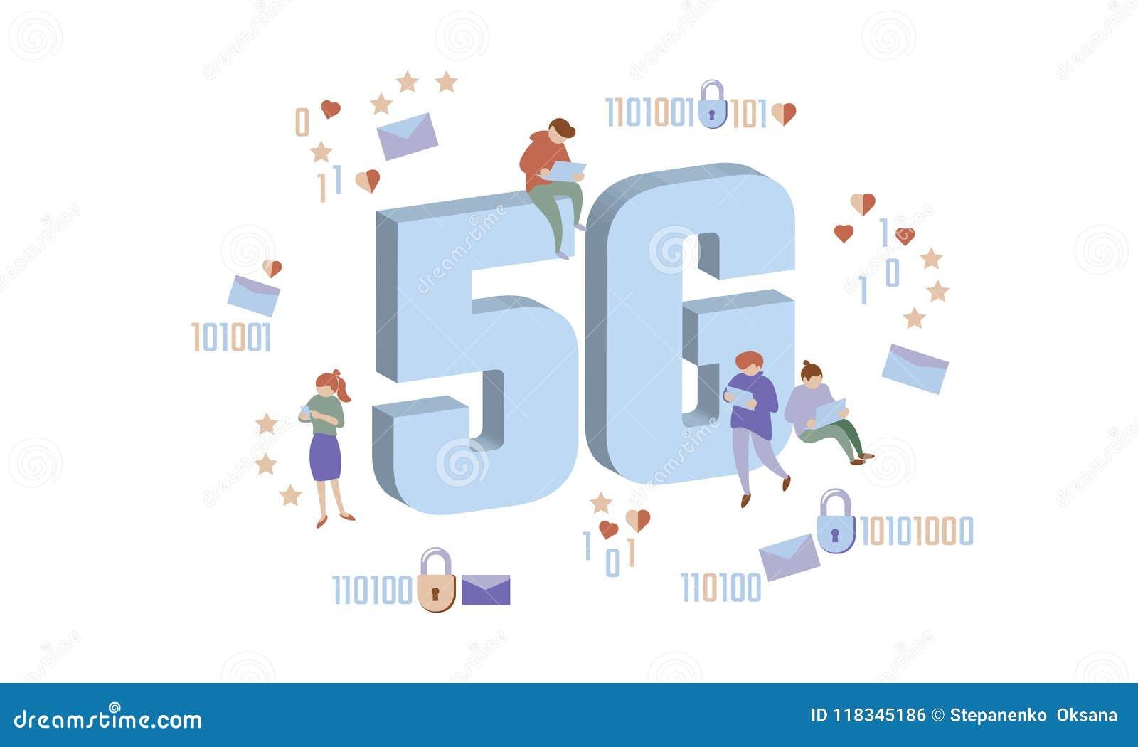 5G nieuwe draadloze Internet-wifiverbinding De kleine brieven van het mensen grote grote symbool De isometrische blauwe 3d vlakte