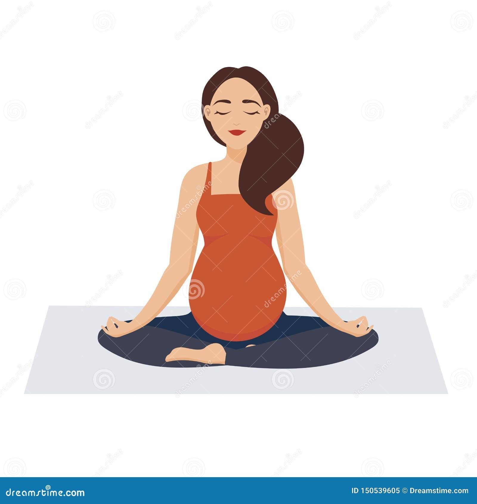 G?ra gravid yoga f?r flicka En kvinna, som bor ett aktivt liv, kopplas in i fysiska övningar Flickan i asana mediterar