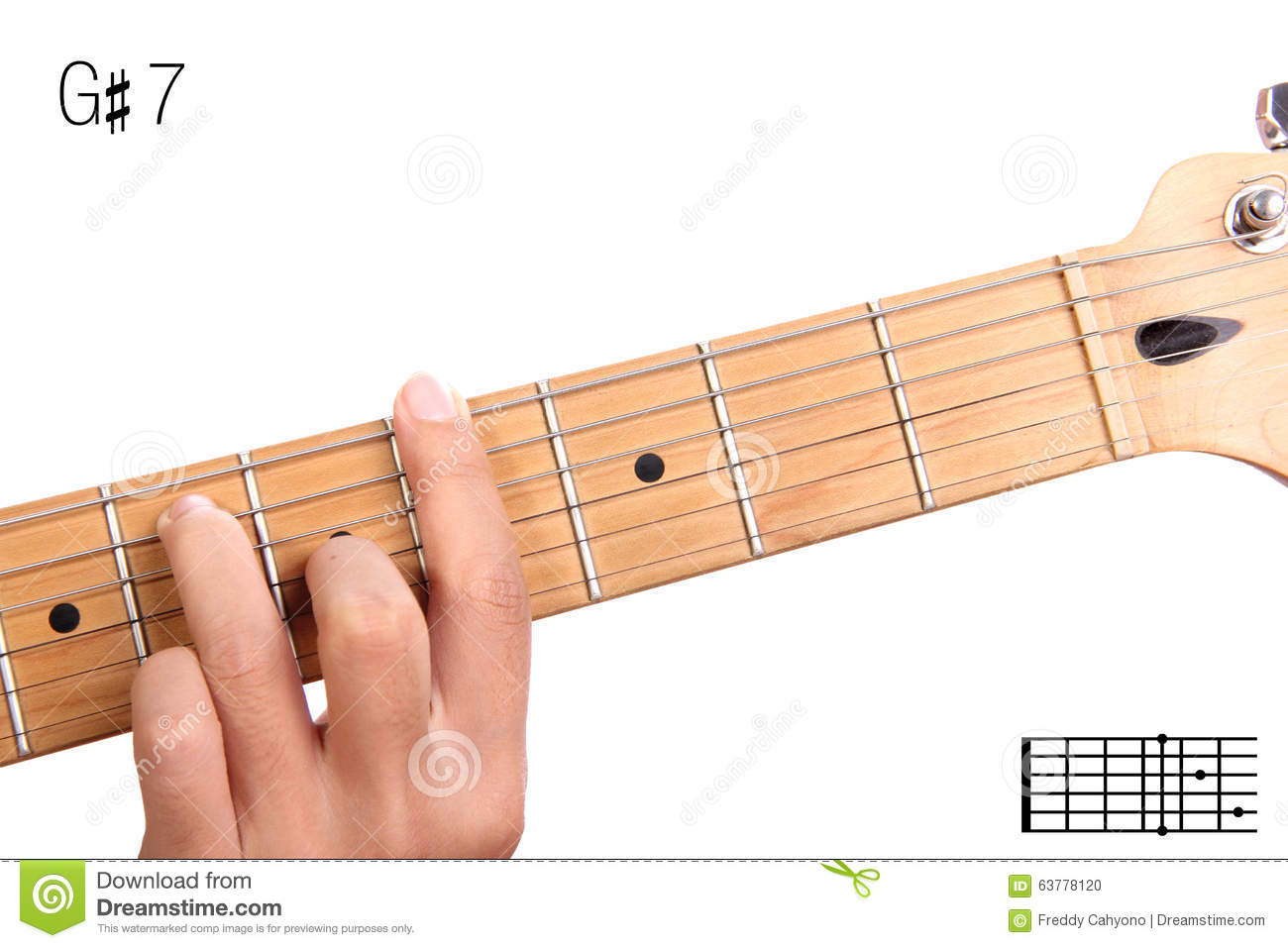 G Sharp Dominant Seventh Guitar Chord Tutorial Stock Photo Image