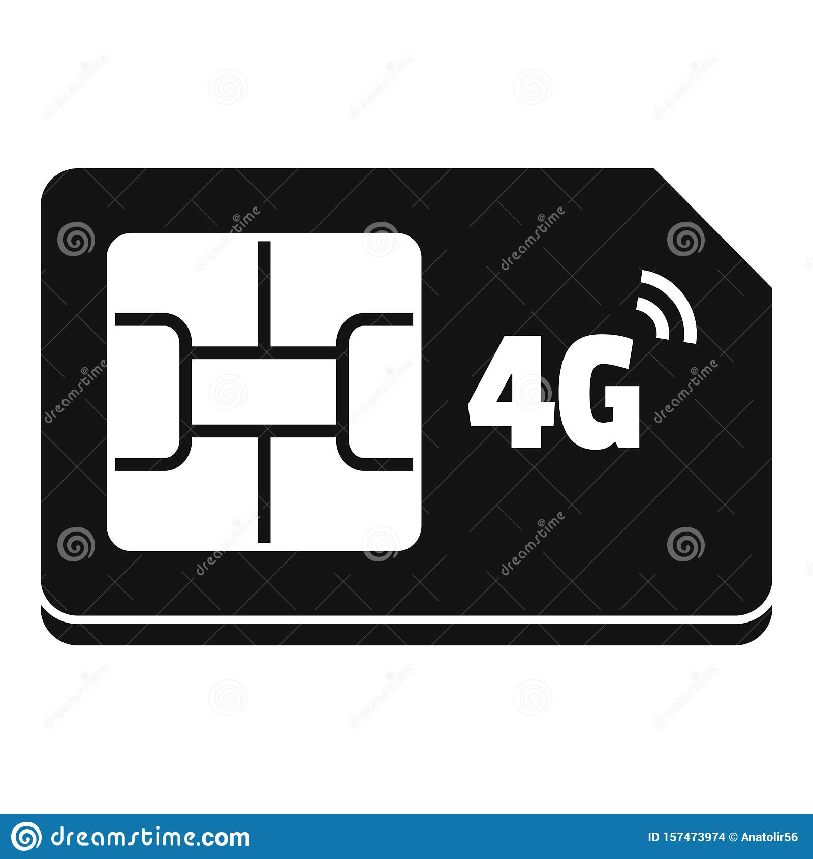 4g sim card icon simple style stock vector  illustration