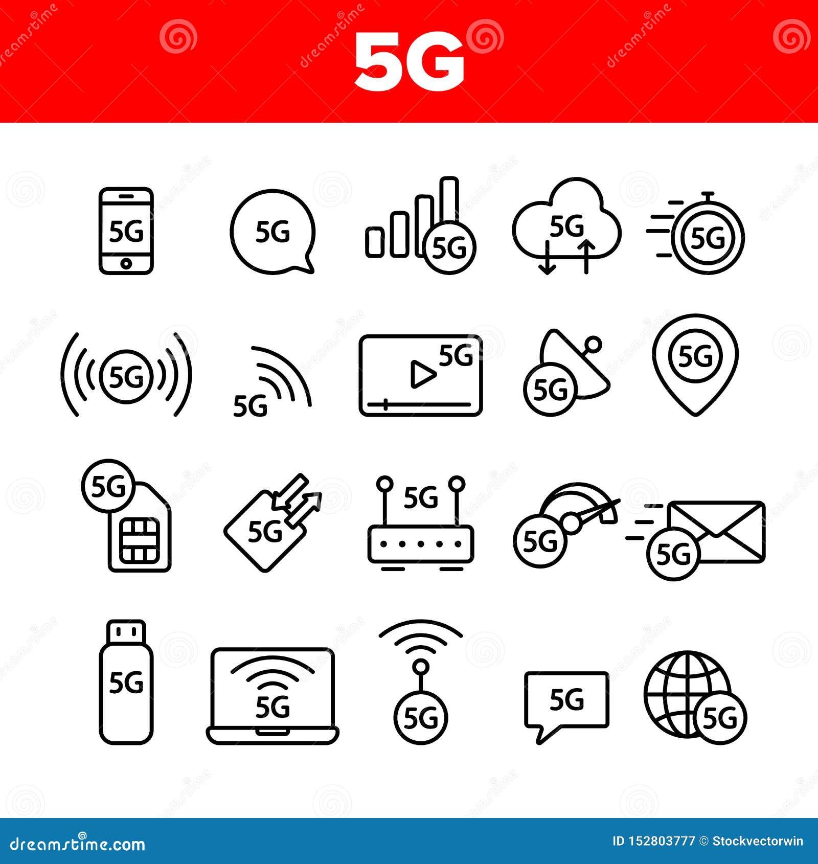 5G snabbt nätverk, anslutning till uppsättningen för Websitevektorsymboler