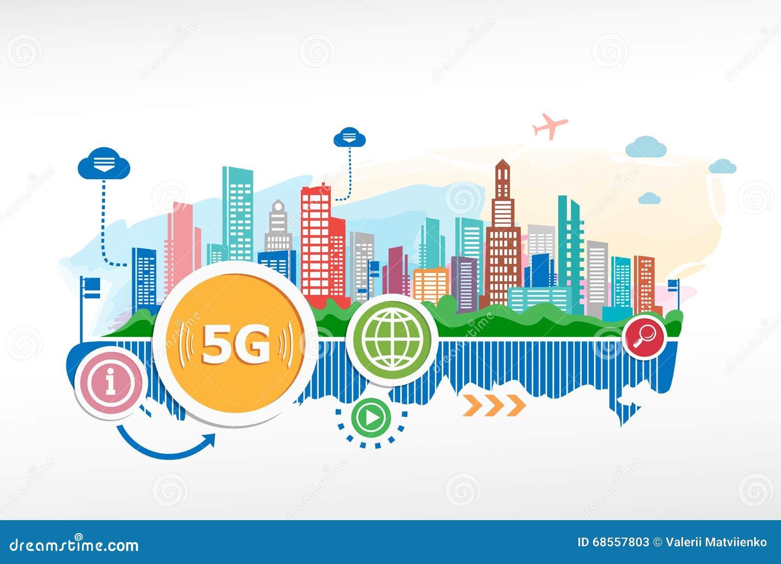5G tekenpictogram Mobiel telecommunicatietechnologieteken