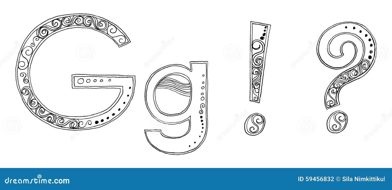 G vandan freehand pencil sketch font stock illustration