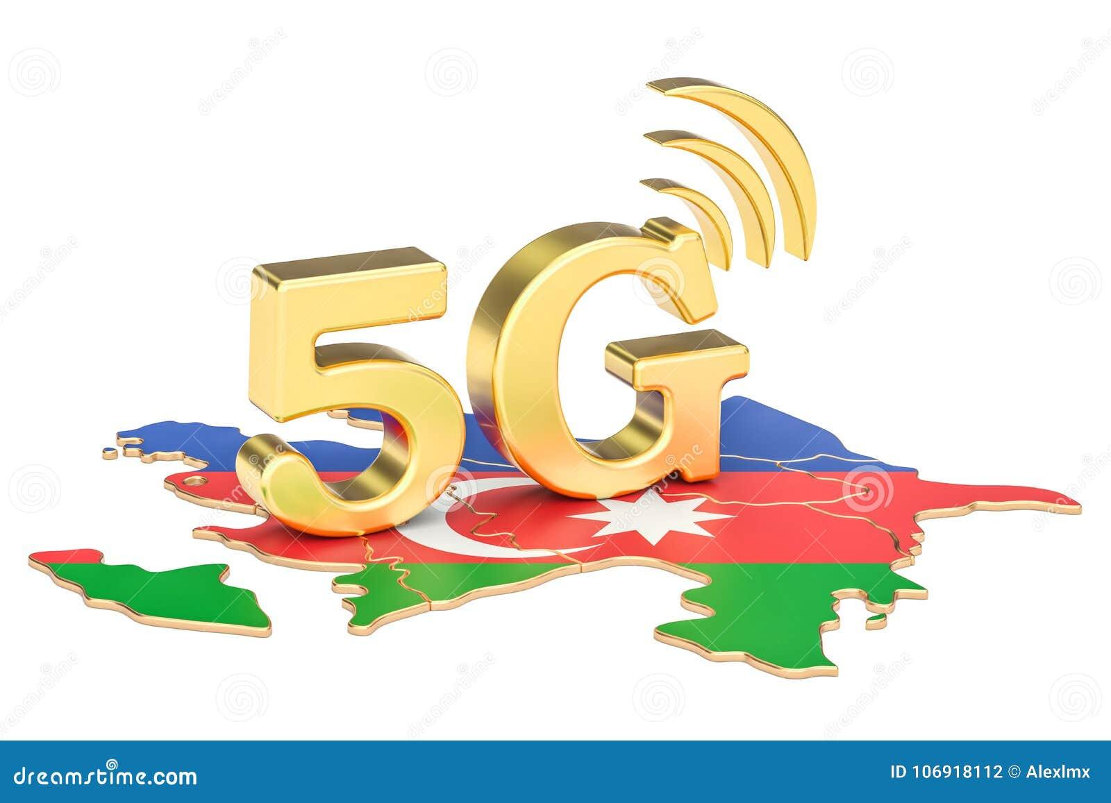 5G w Azerbejdżan pojęciu, 3D rendering