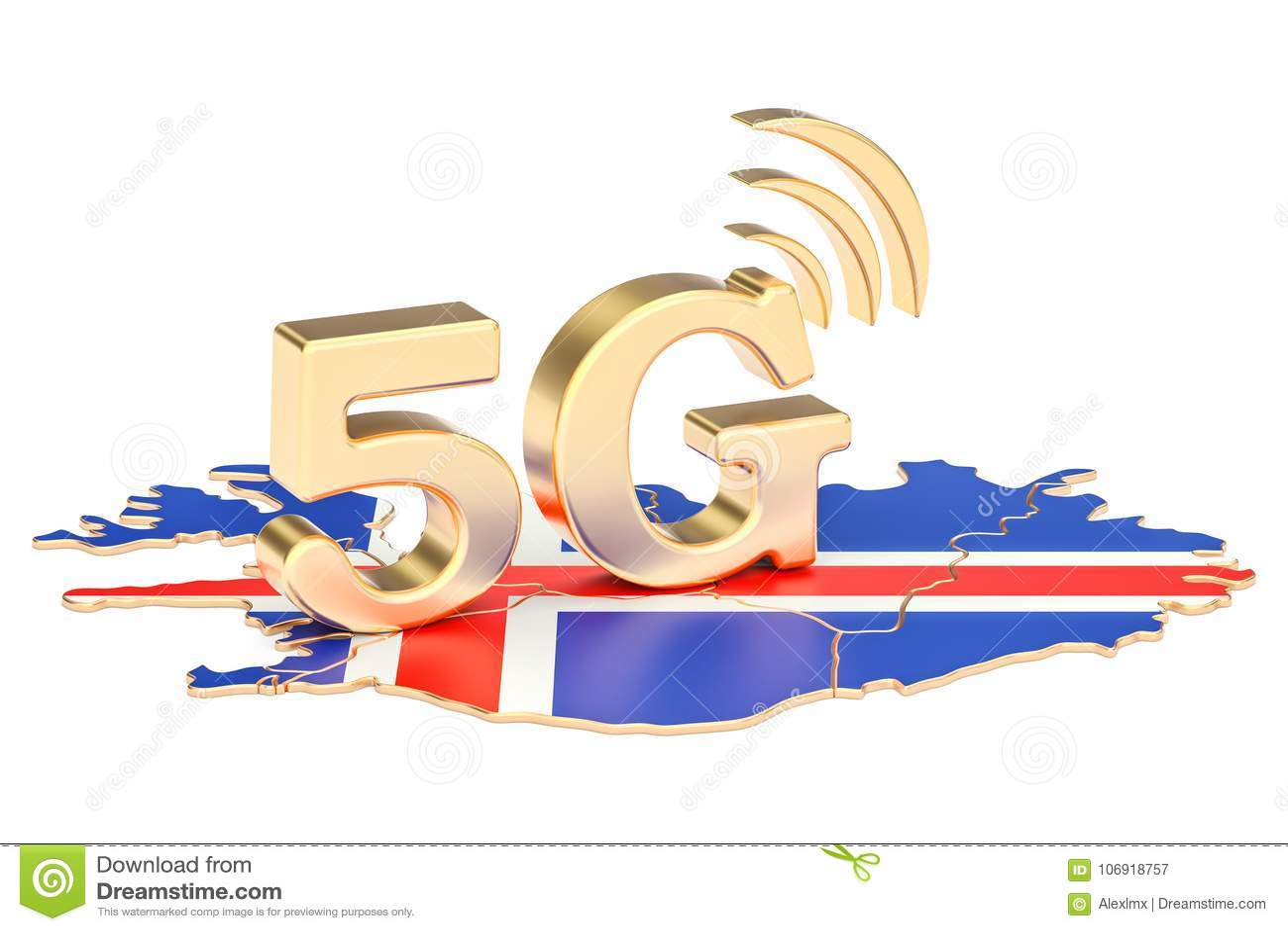 5G w Iceland pojęciu, 3D rendering