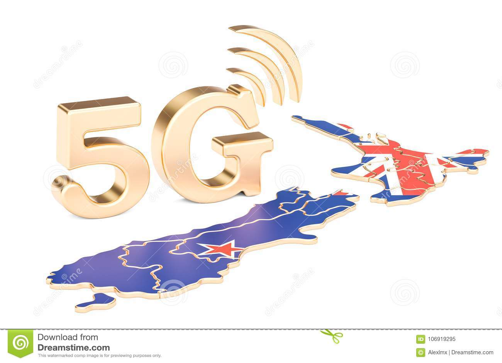 5G w Nowa Zelandia pojęciu, 3D rendering