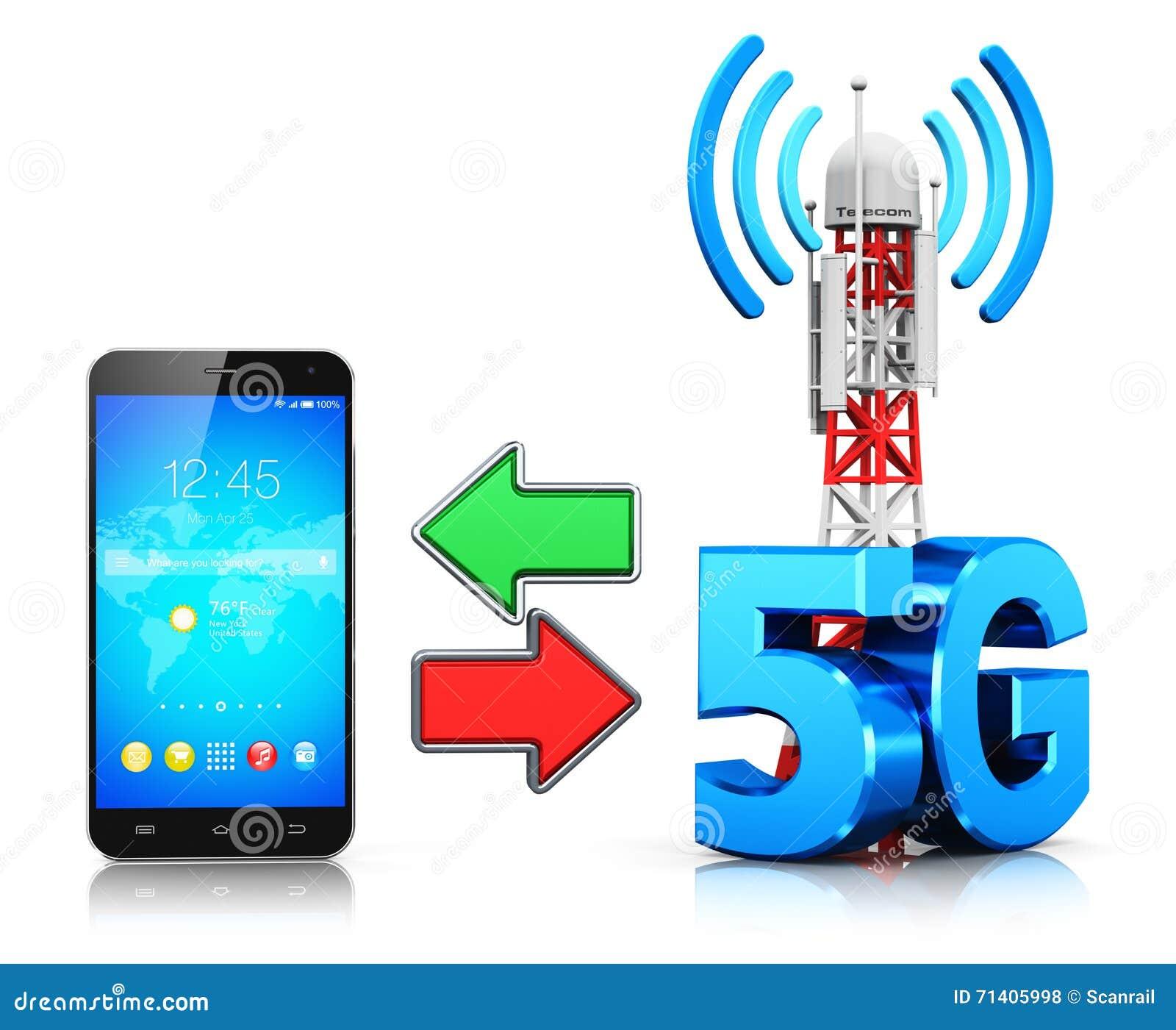 5G Wireless Communication Technology Concept Stock Illustration ...