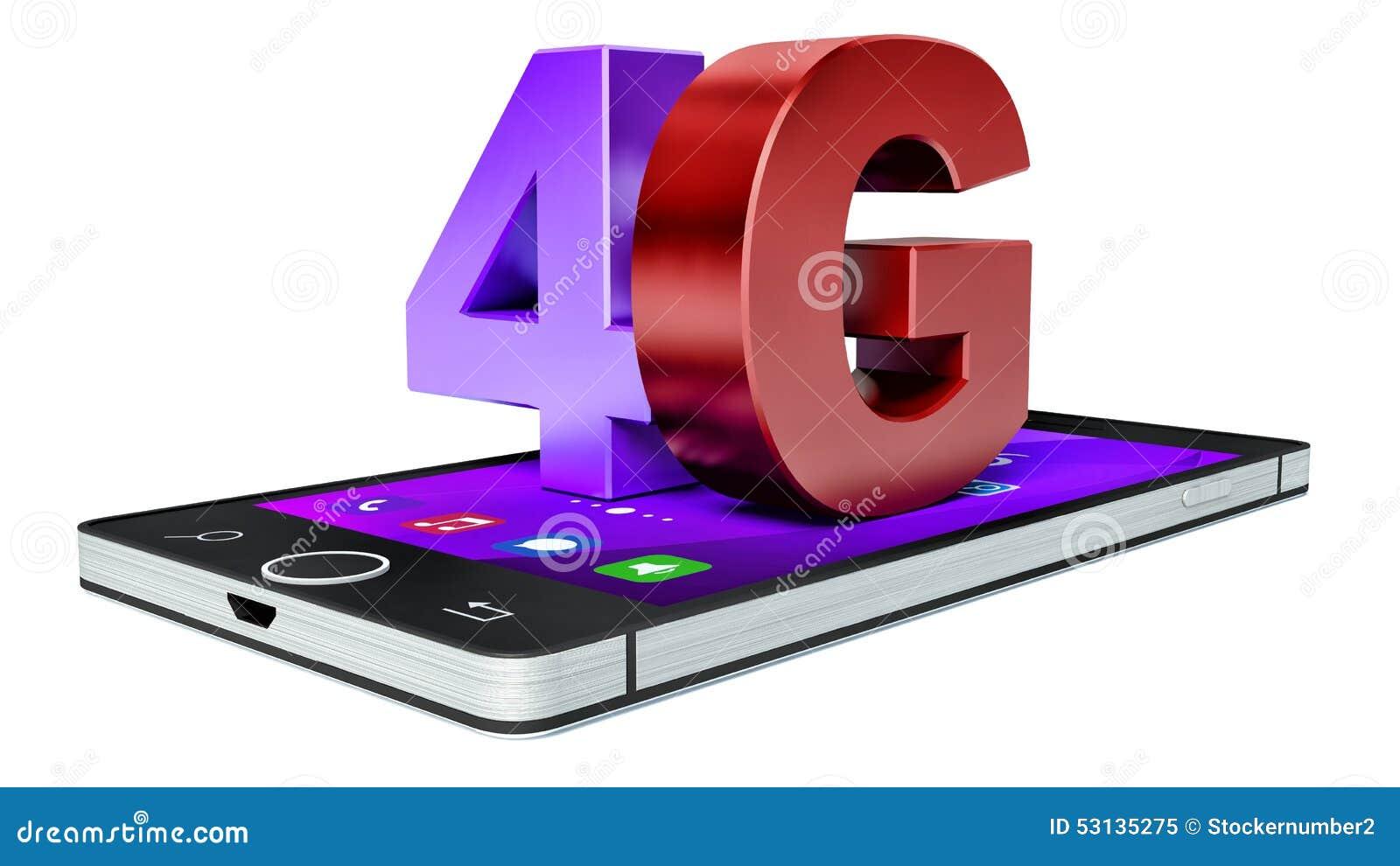 4G Wireless Communication Technology Symbol On Smartphone Stock ...