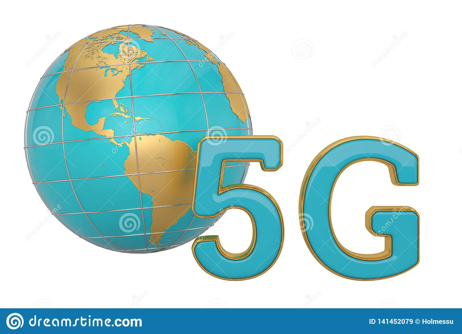 5G Wireless Network Icon And Globe  3D Illustration Stock
