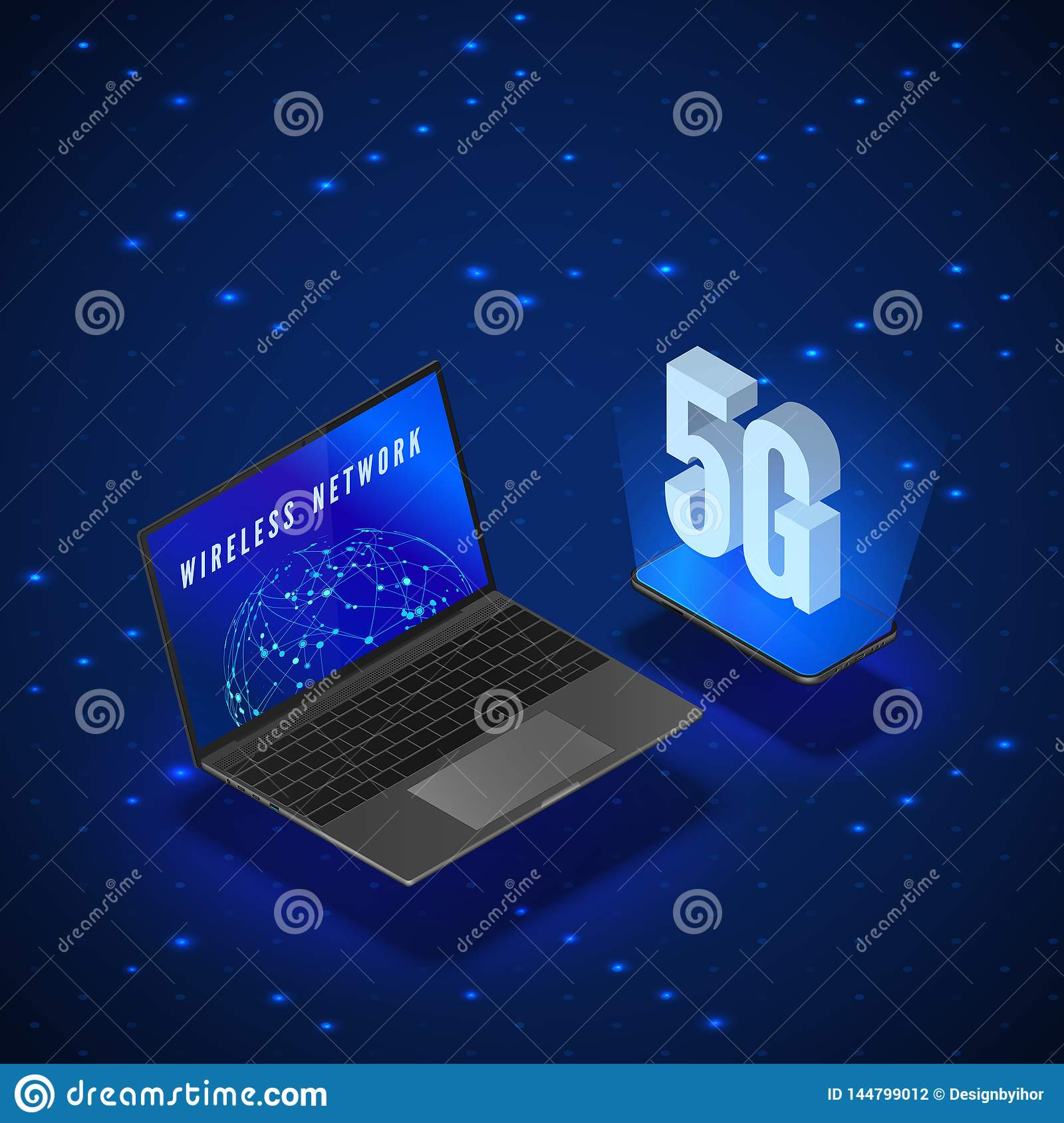 5G Wireless Network Systems. Mobile Internet Technology. Laptop and Phone Isometric Banner 5G Network Technology. Vector