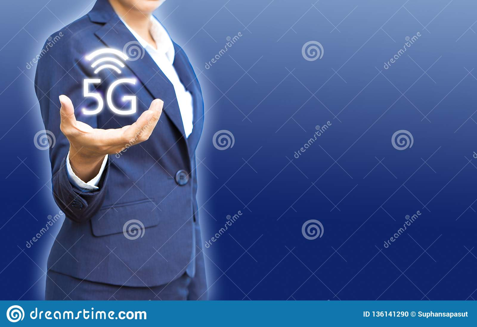 5G wireless networks in business people hand show for new connections with copy space