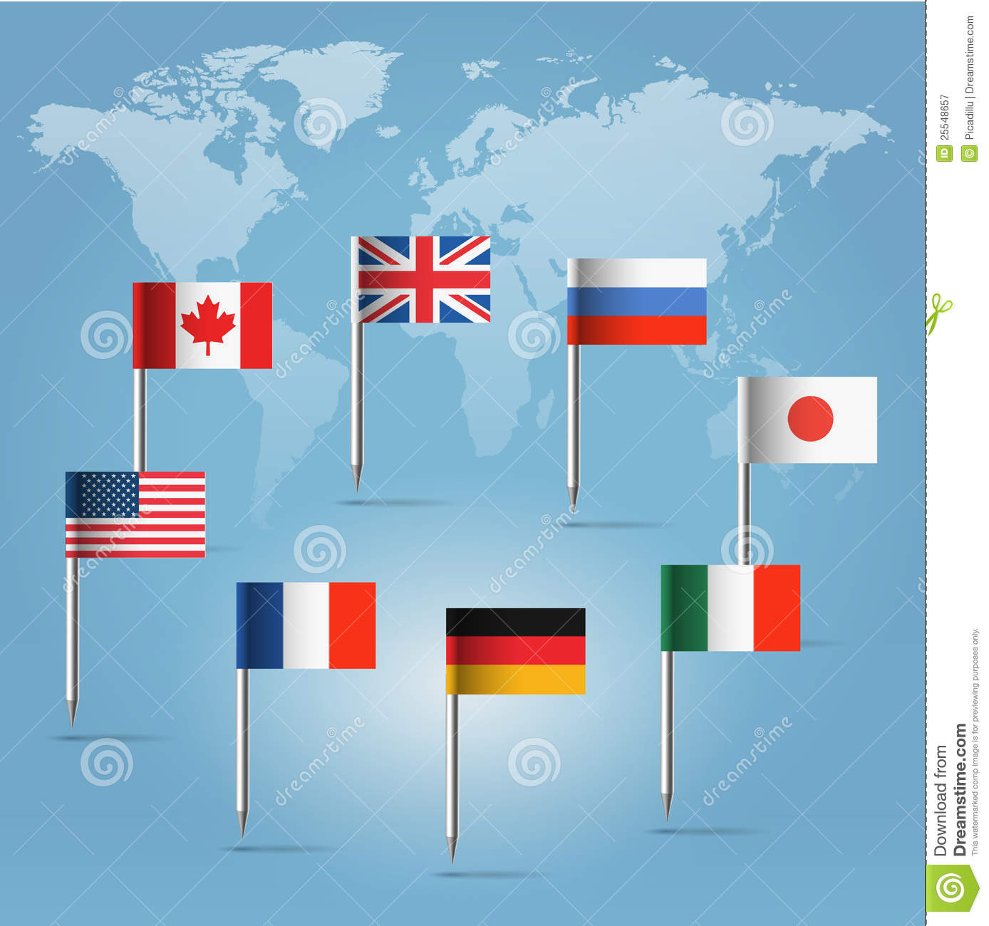 G8 flag pins over world map silhouette stock vector illustration g8 flag pins over world map silhouette gumiabroncs Images
