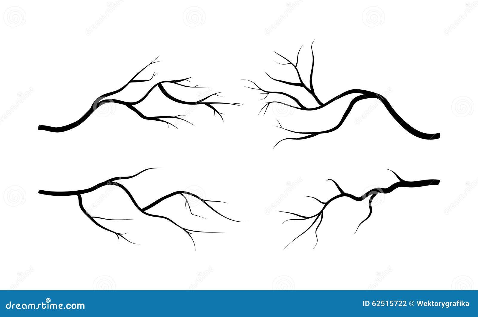 Gałęziasty sylwetki ikony set, symbol, projekt Odizolowywająca wektorowa ilustracja