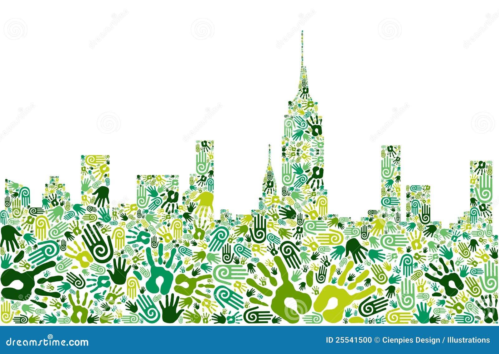 Ga groene de horizonachtergrond van de handenstad