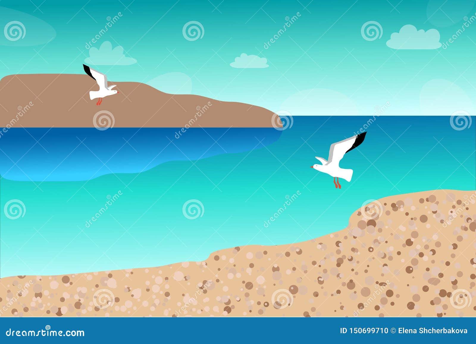 Gabbiani che sorvolano il mare