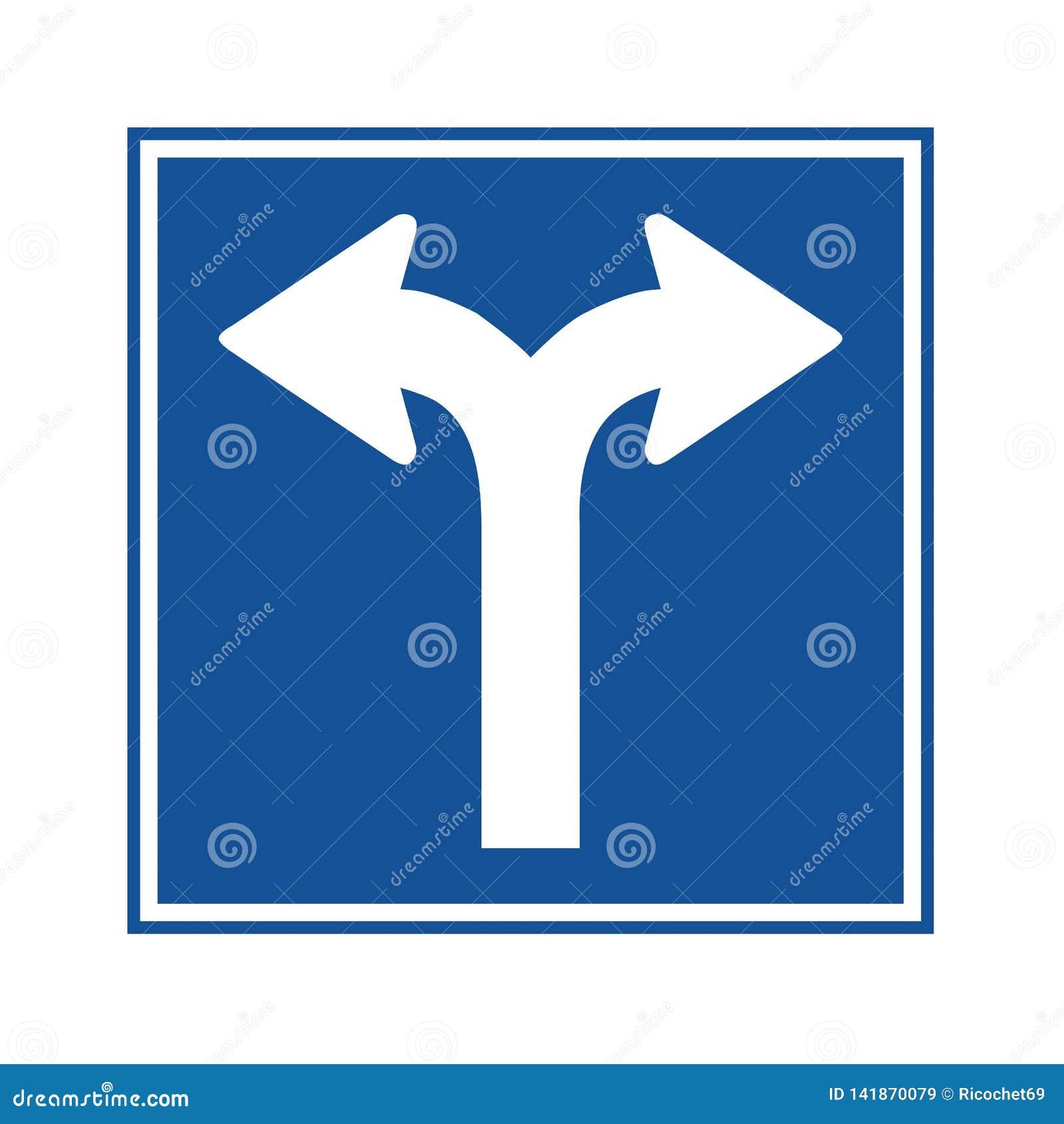 Gabel im StraßenVerkehrszeichen