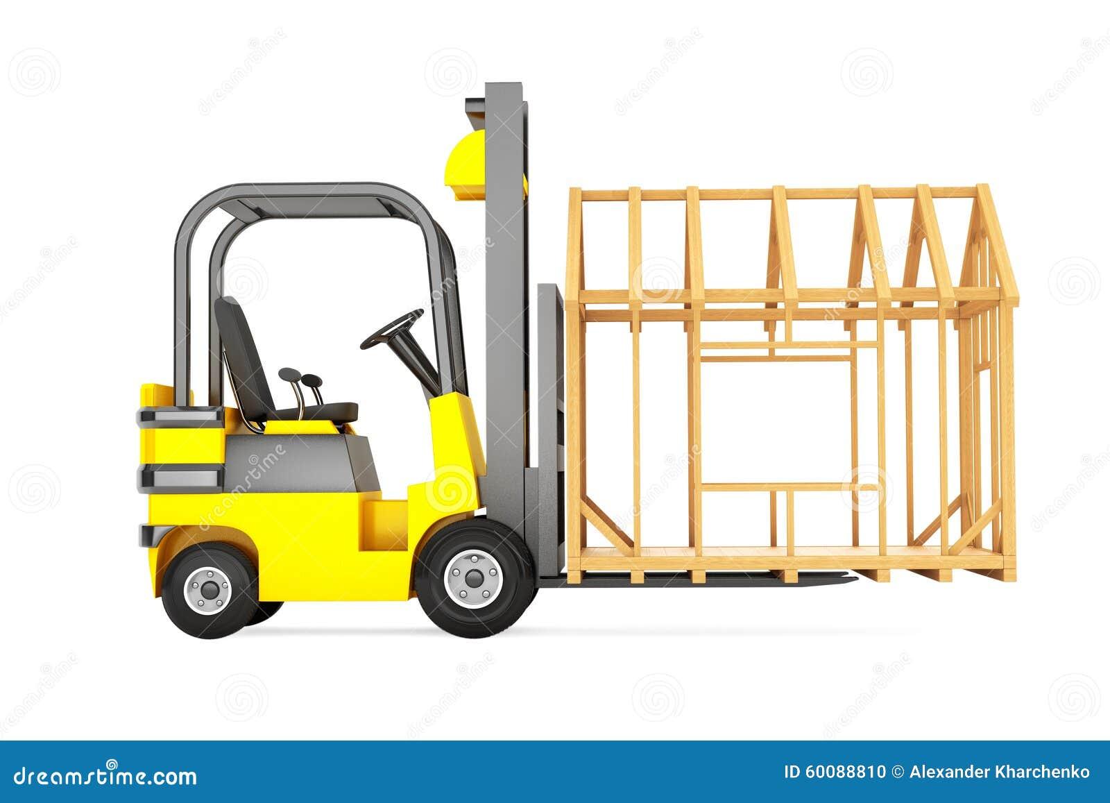 Gabelstapler-beweglicher Rahmen-Haus Stock Abbildung - Illustration ...