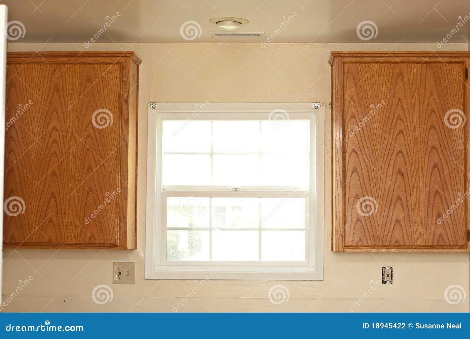 Gabinetów Kuchni Dwa Okno Zdjęcie Stock Obraz Złożonej Z