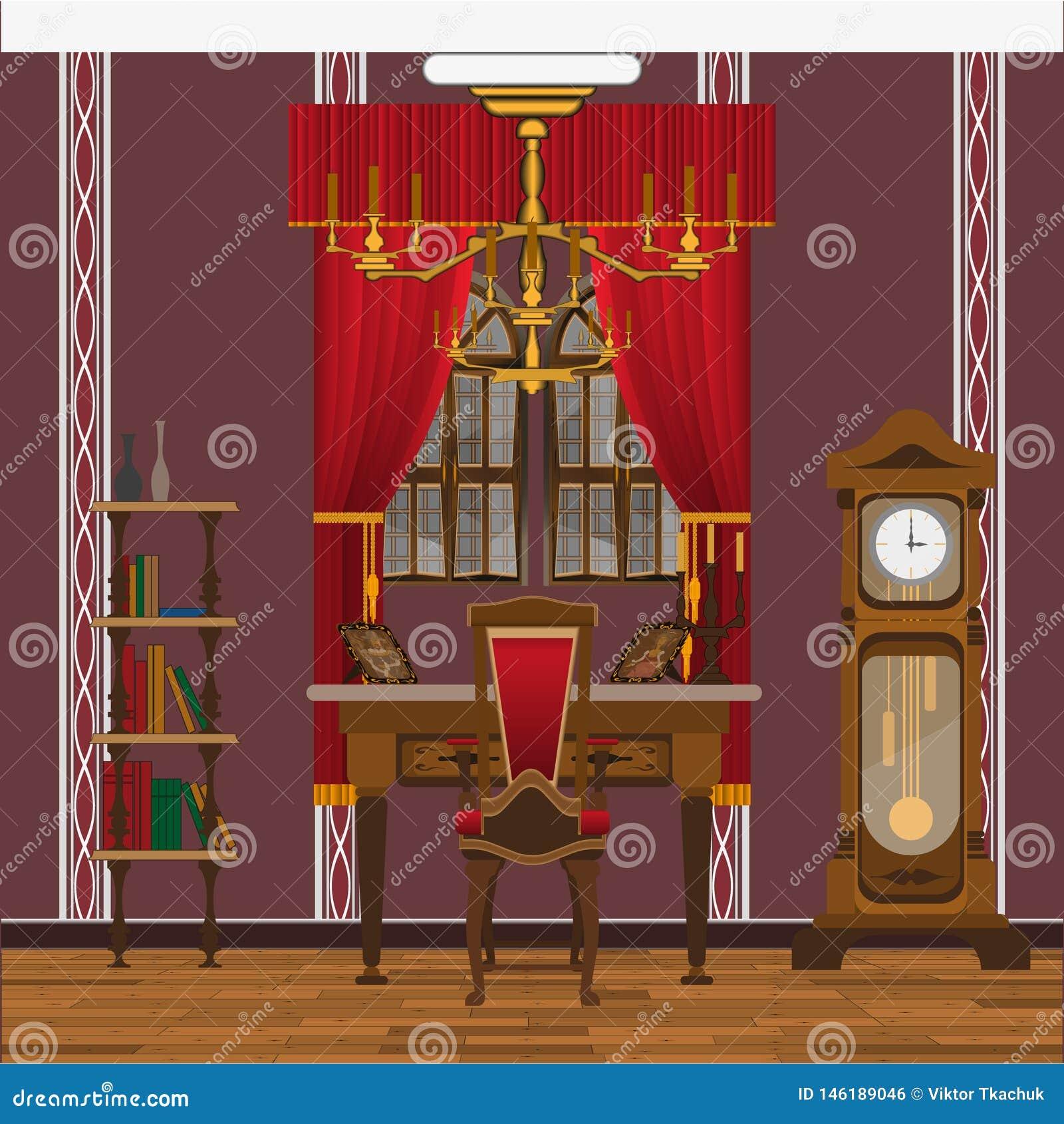 Gabinet, żywy izbowy wnętrze z wielkim okno lub ampuła osiągamy