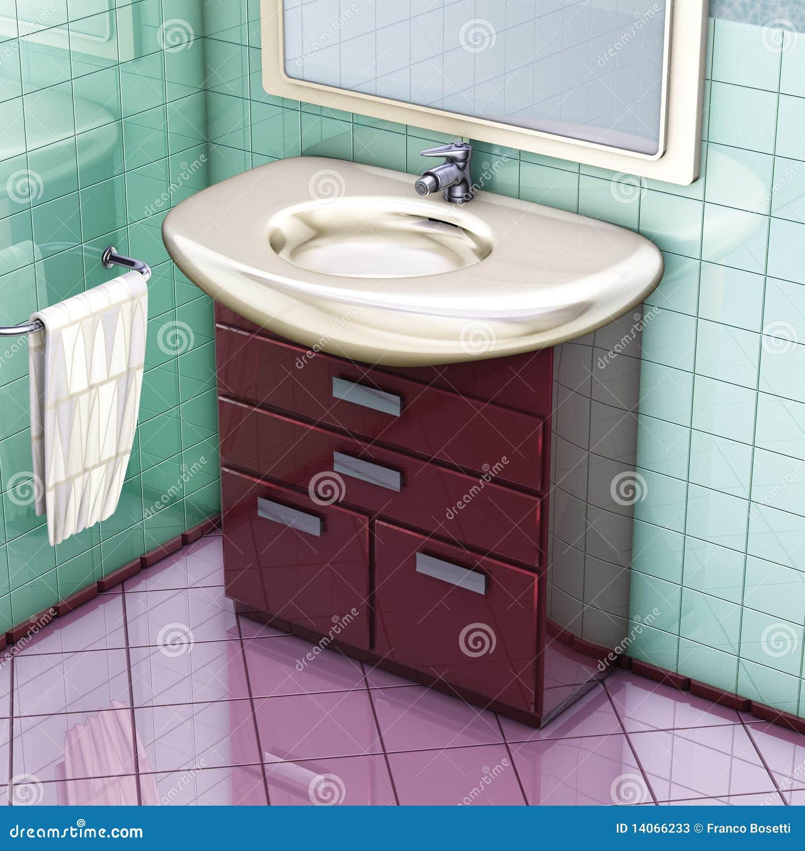 Rendição 3D gabinete do banheiro e dissipador vermelhos. #46232B 1300 1390