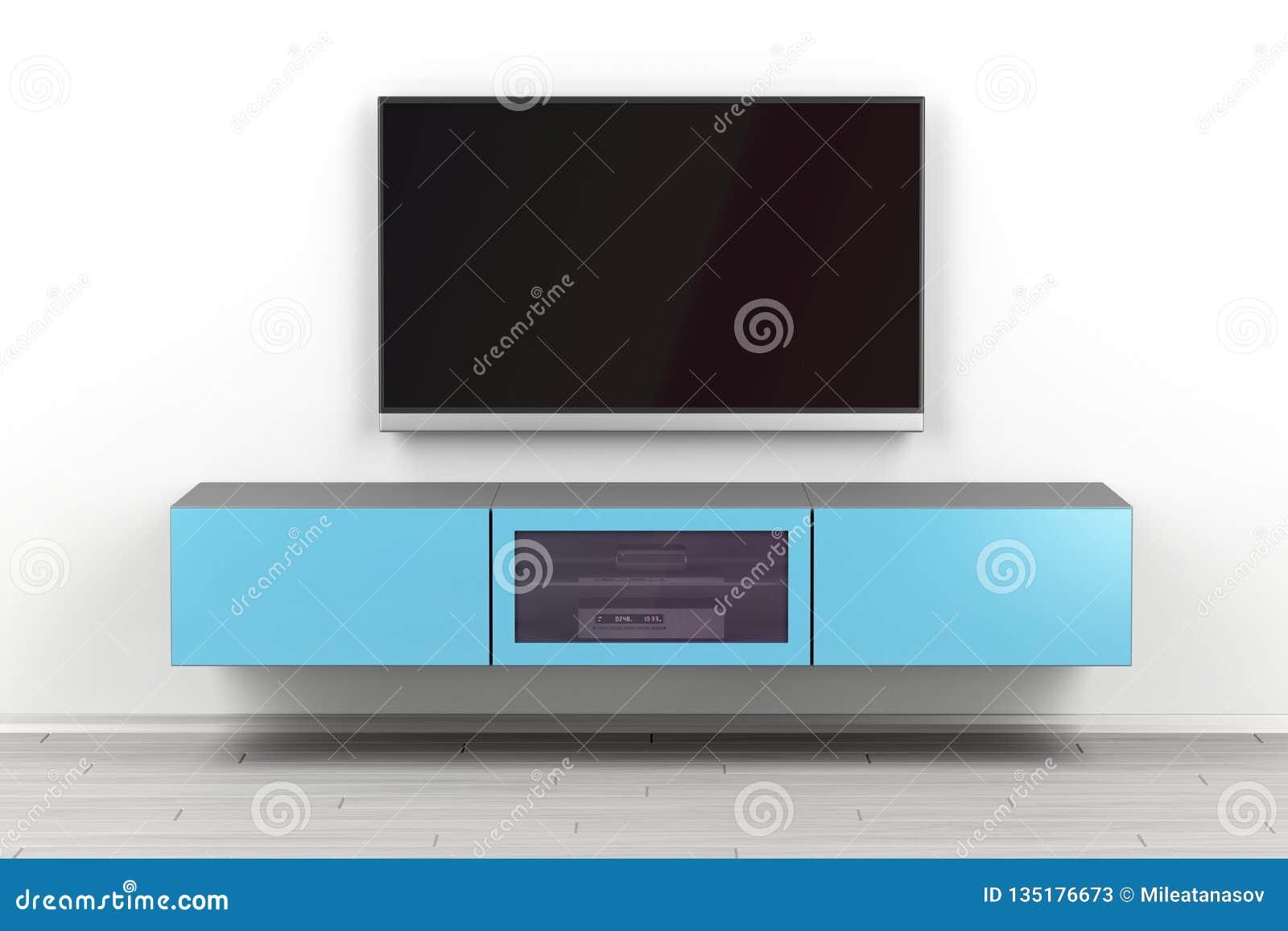 Gabinete montado en la pared de la TV y TV grande