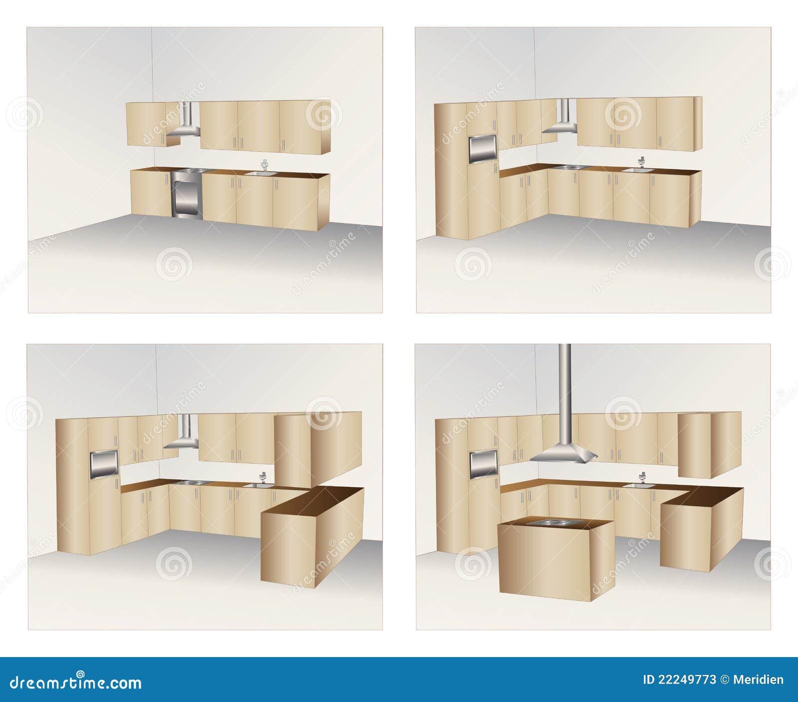 de quatro variações dos gabinetes de cozinha de madeira #84A724 1300 1159