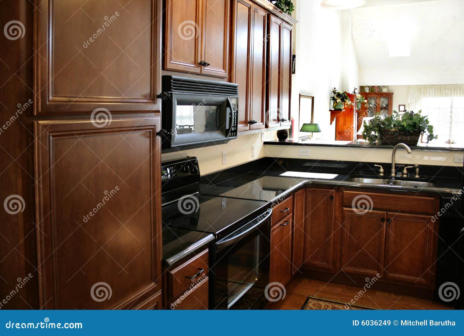 Gabinetes De Madeira Da Cozinha Pretos E Fogão Inoxidável Imagens de  #C03C0B 1300 957