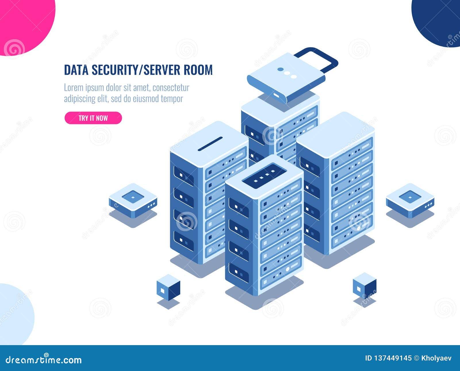 Gabinetto della stanza del server, centro dati ed icona isometrica della base di dati, azienda agricola dello scaffale del server