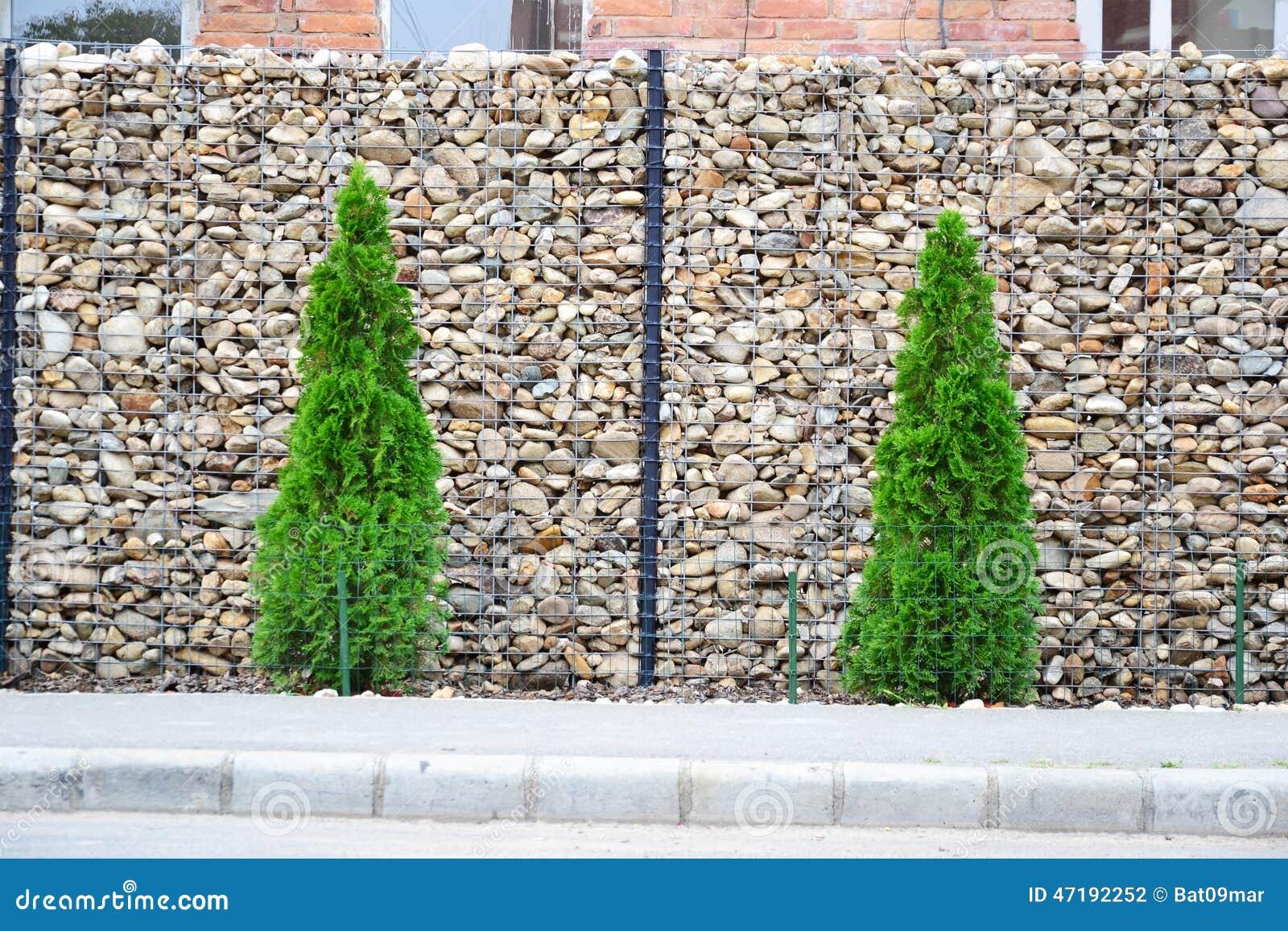 Gabion Fence Stock Photo - Image: 47192252