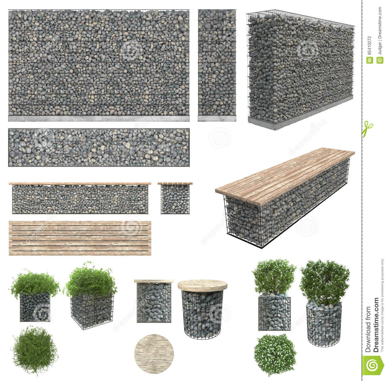 gabion pierres dans le grillage mur banc pots de fleur avec des usines des roches et grilles. Black Bedroom Furniture Sets. Home Design Ideas
