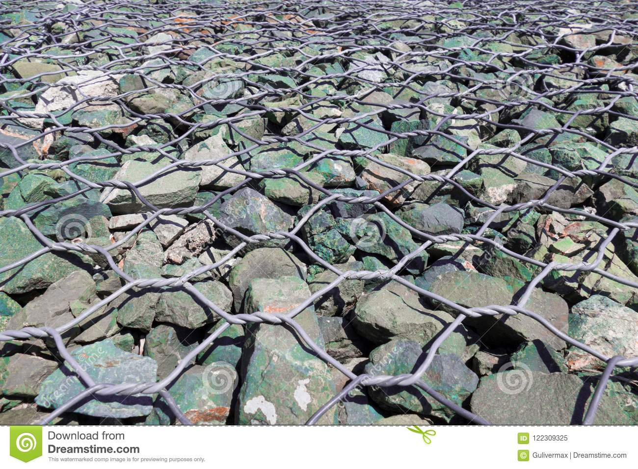 Gabion - Stones In Wire Mesh For Decorative Fences Stock Image ...