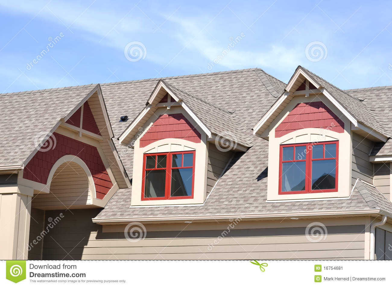 Gable Dormers On Residential Home Stock Image Image