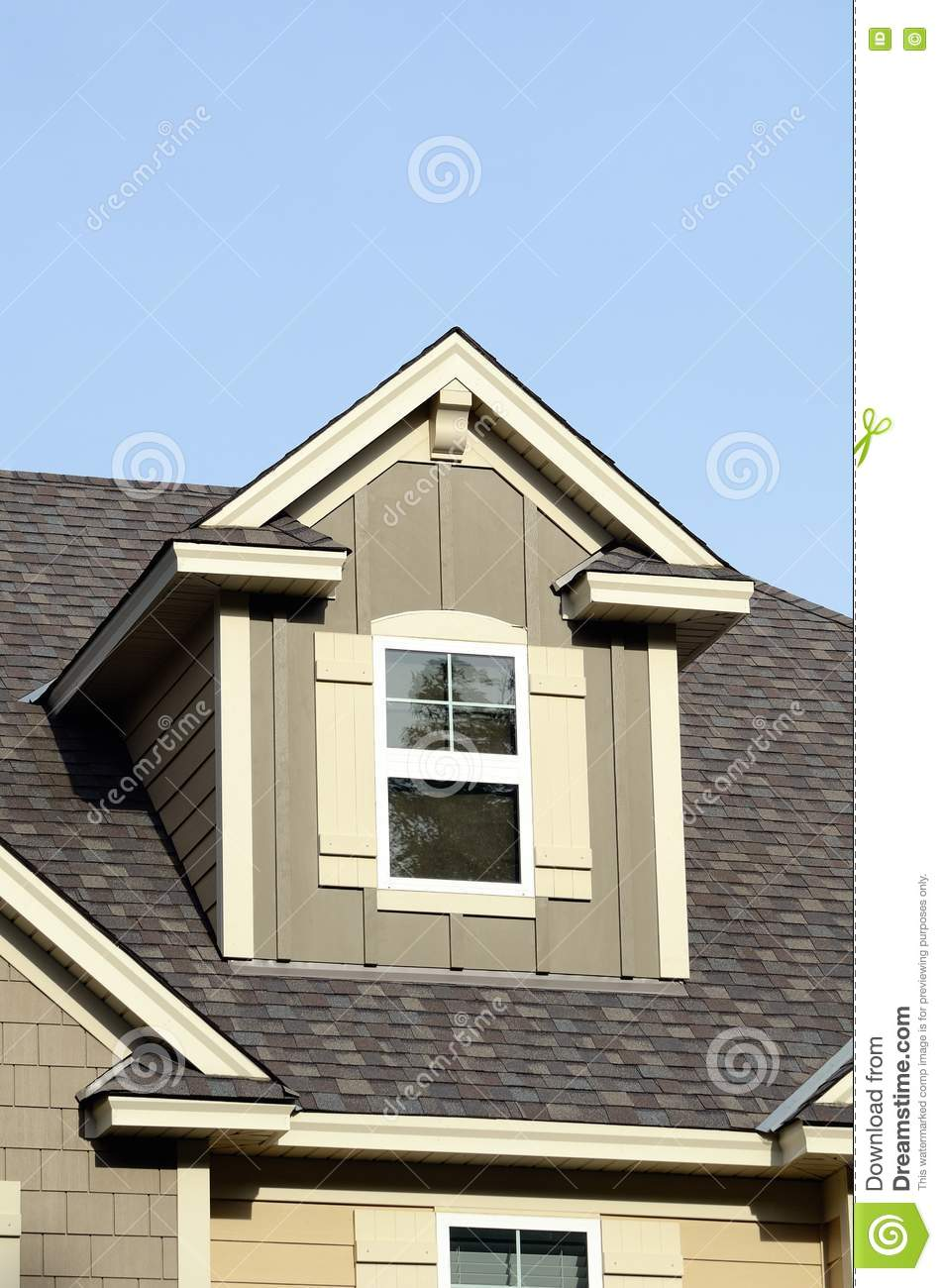 Gable dormers on residential home stock photo image for Houses with gable roofs