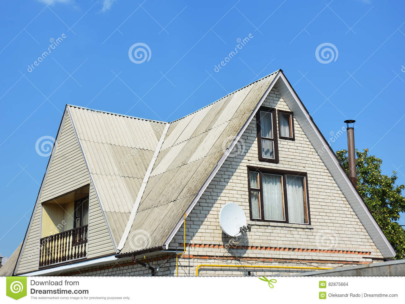 Gable and valley type of roof construction building attic for Building type house design