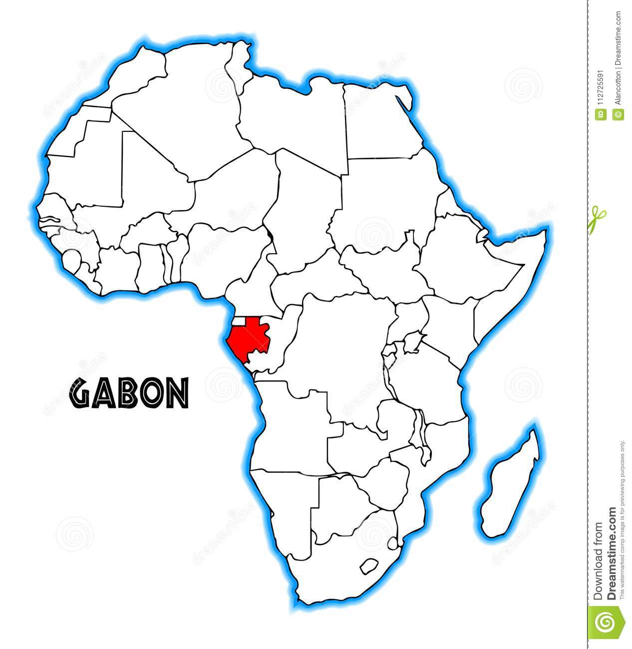 Gabon Africa Map Stock Vector Illustration Of Geography 112725591