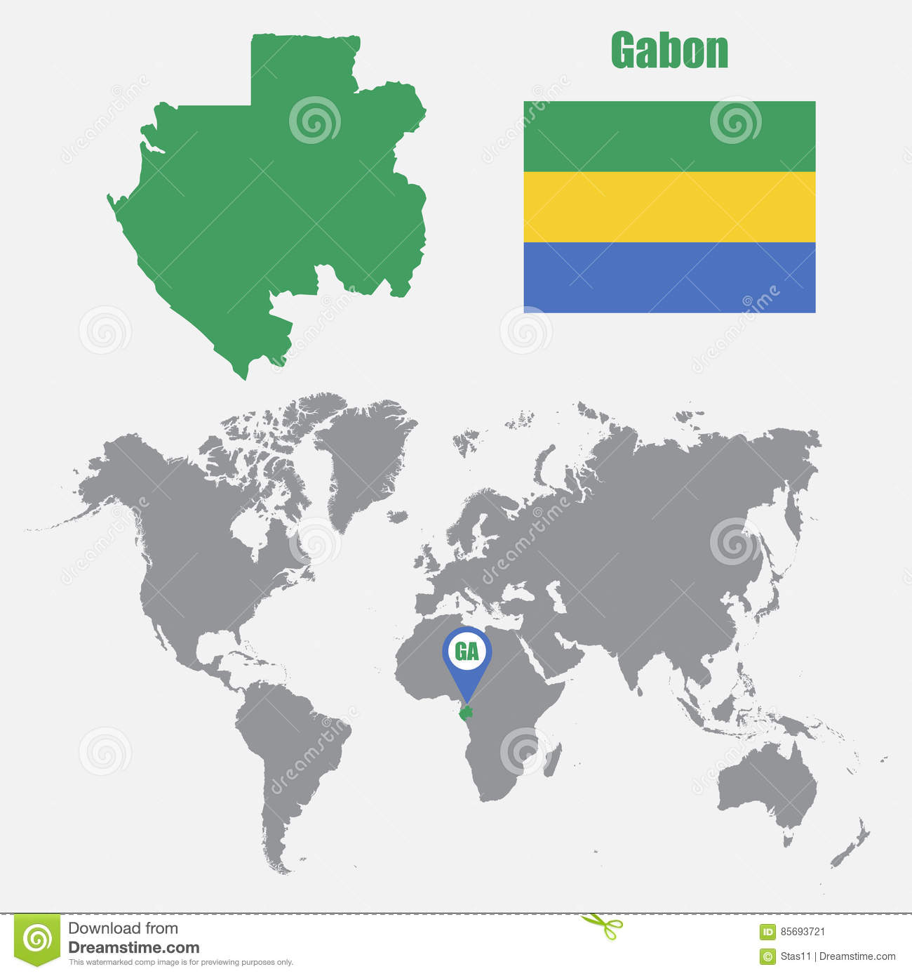 Gabon World Map.Gabon Map On A World Map With Flag And Map Pointer Vector