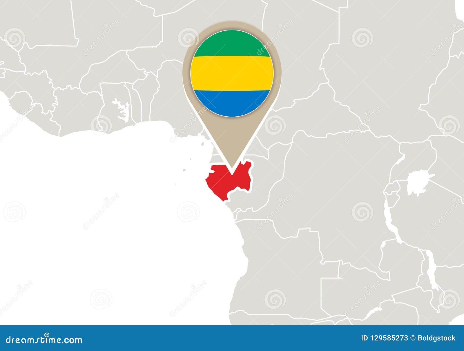Gabon World Map.Gabon On World Map Stock Vector Illustration Of Sign 129585273