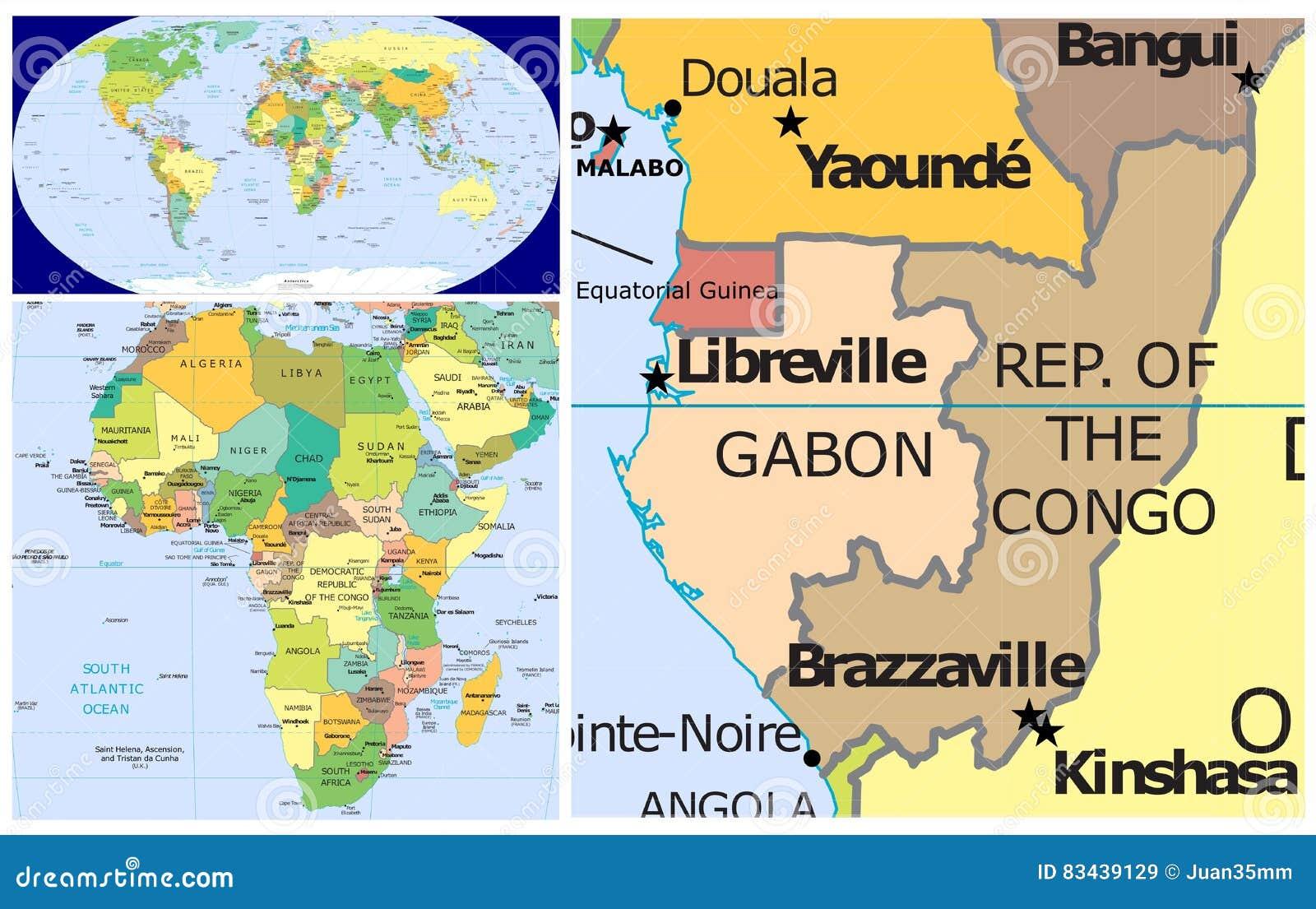 Gabon World Map.Gabon World Stock Illustration Illustration Of East 83439129