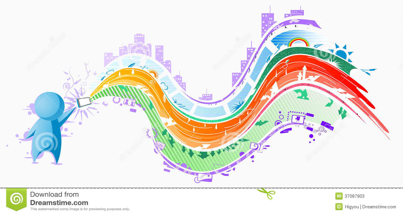 Download Gadżetów Ludzie, Kolorów Strumienie Ilustracji - Ilustracja złożonej z element, wyobraźnie: 37087903