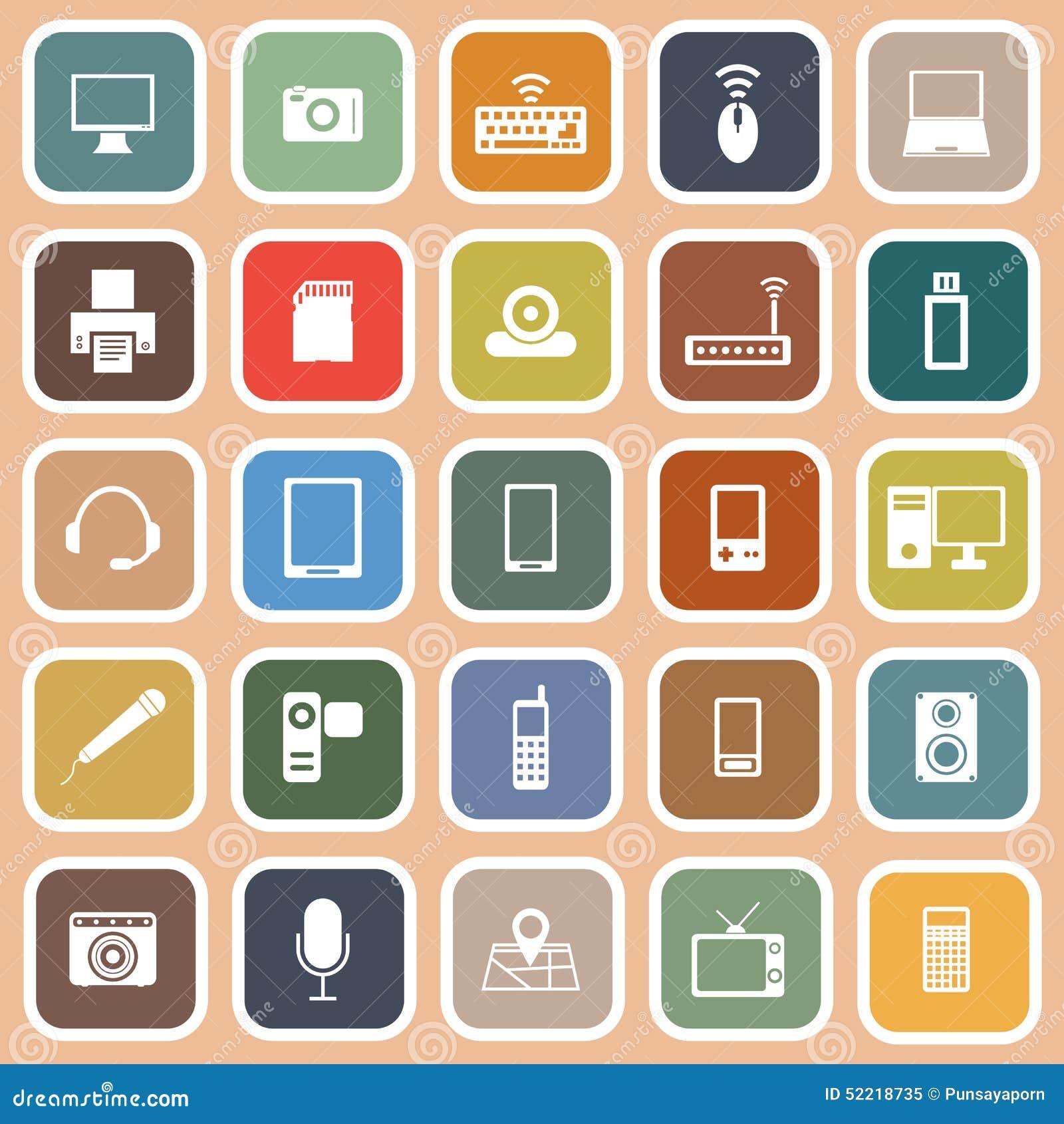 Gadget Flat Icons On Orange Background Stock Vector ...