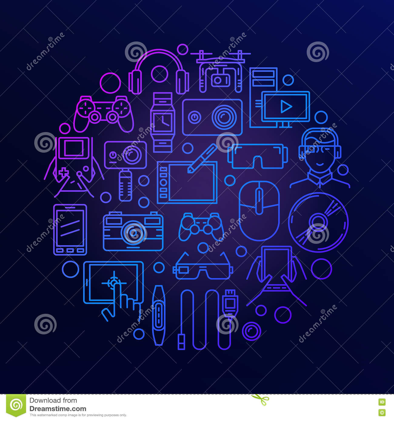 Gadgets And Electronics Round Sign Stock Vector Illustration Of