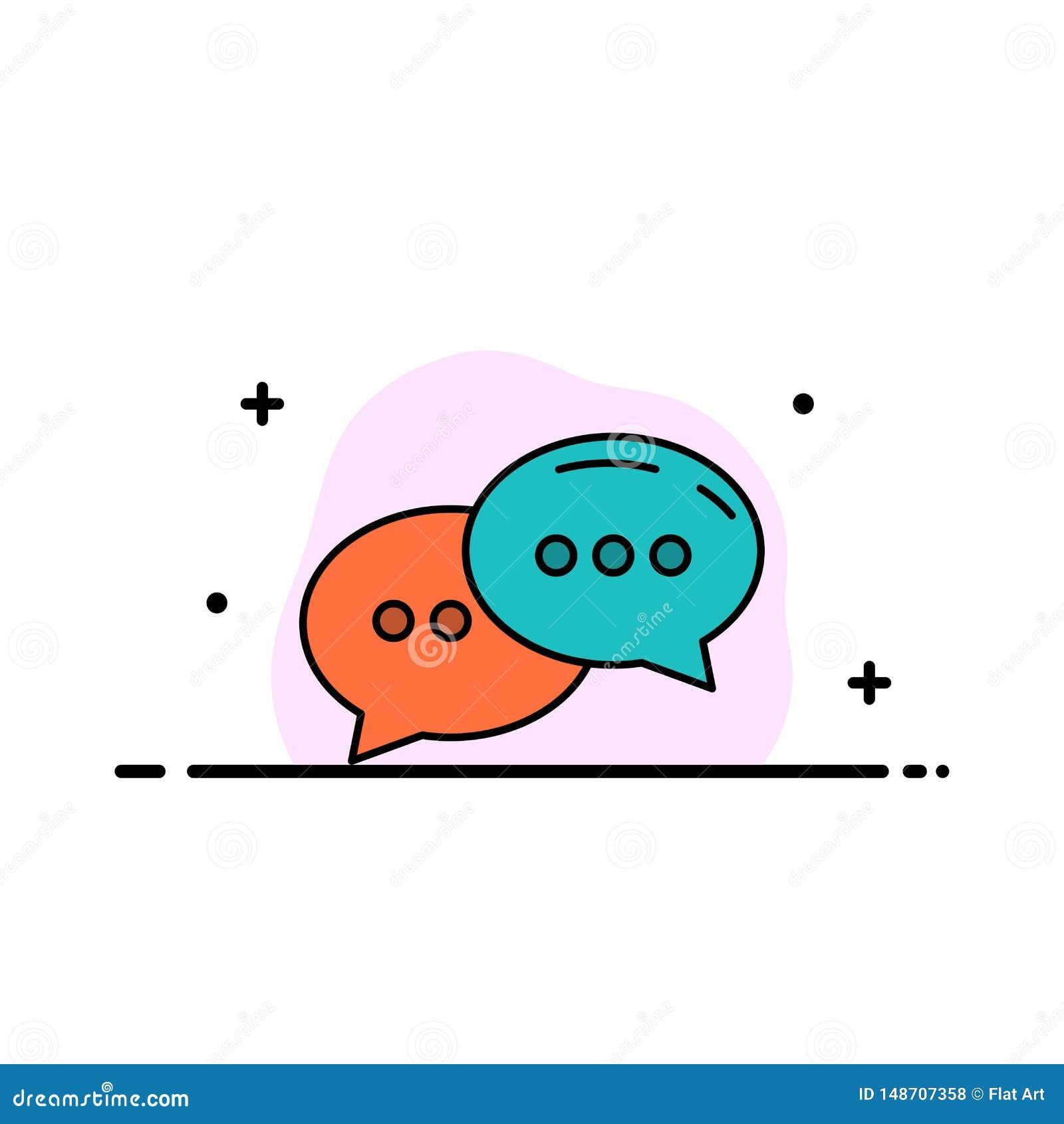Gadka, gawędzenie, rozmowa, dialog mieszkania ikony sztandaru Biznesowa linia Wypełniający Wektorowy szablon
