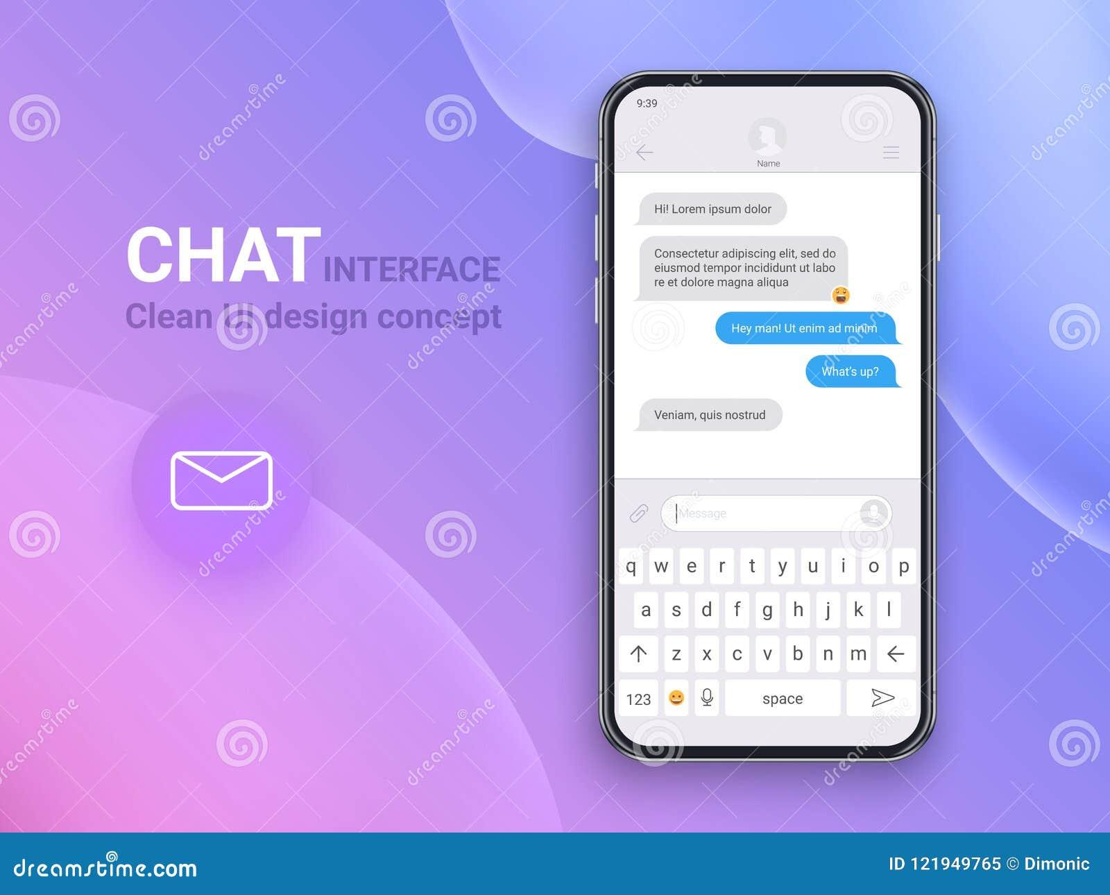 Gadka interfejsu zastosowanie z dialog okno Czyści Mobilnego UI projekta pojęcie Sms goniec Płaskie sieci ikony 10 eps