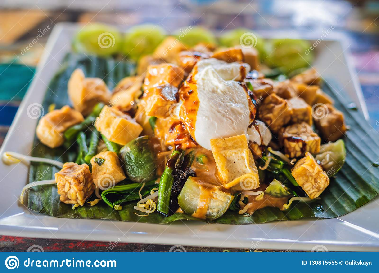 Gado Gado Indonesian Salad Served With Peanut Sauce Ingredients Tofu Spinach String Beans Soy Sprouts Potatoes Cucumber And Stock Image Image Of Famous Fried 130815555